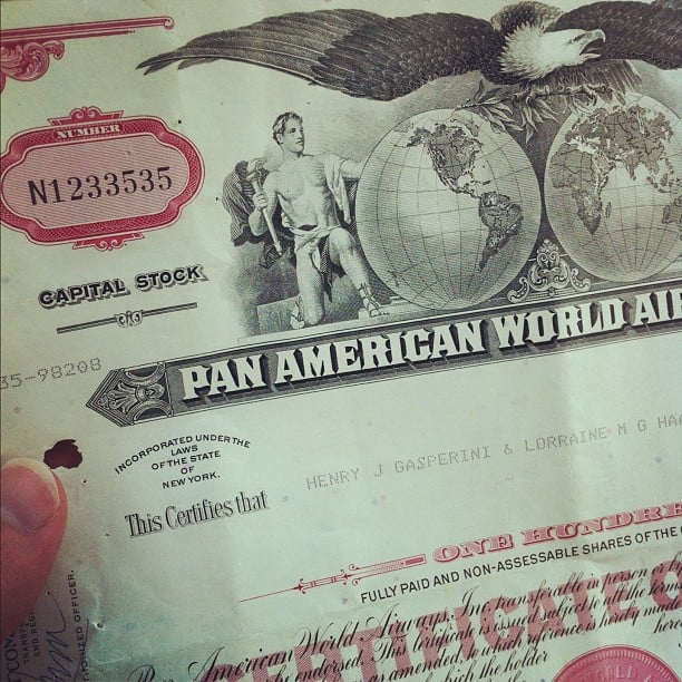 Pan Am Stock Certificate