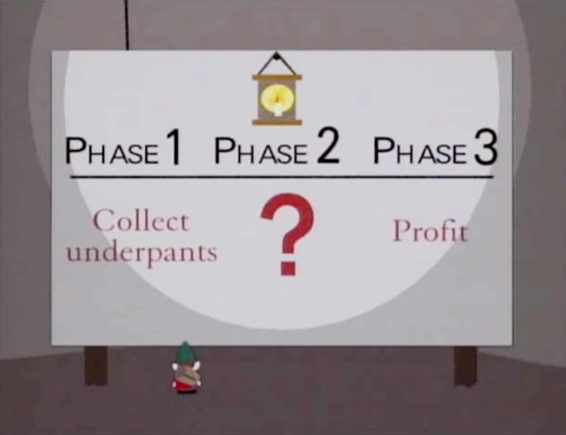 Phase One Collect Underpants Phase Three Profit
