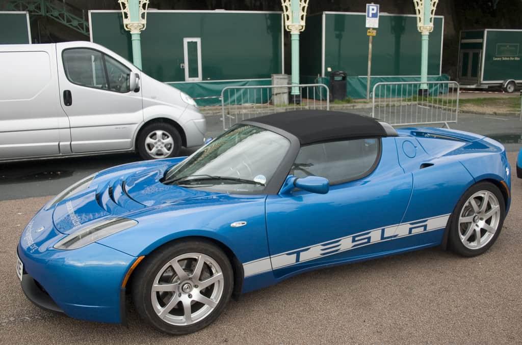 Blue Tesla Roadster Electric Car