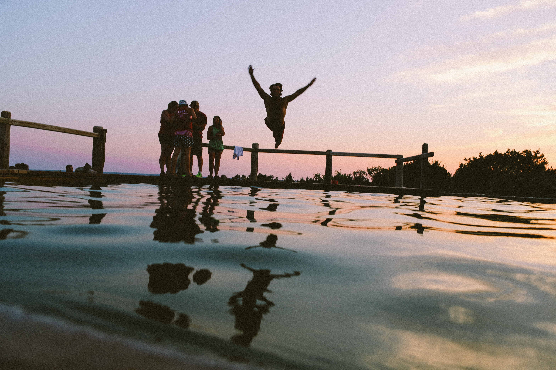 Diving in a lake sundown